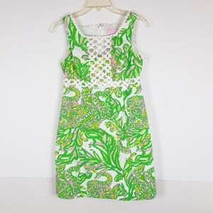 Lilly Pulitzer Sz 2 Green Floral Shift Dress